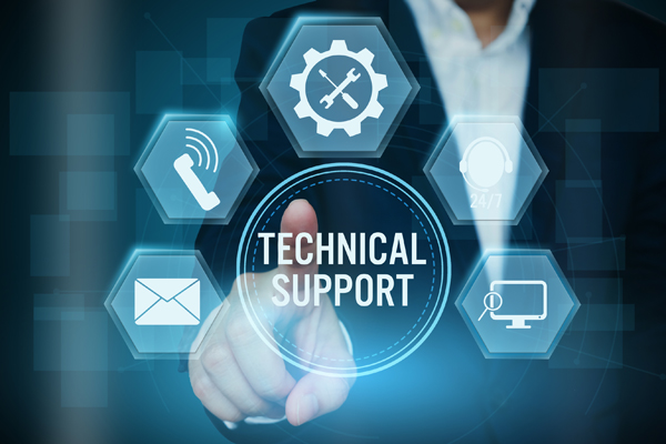 A businessman's fingers pointing digital icons surrounding the word Technical Support